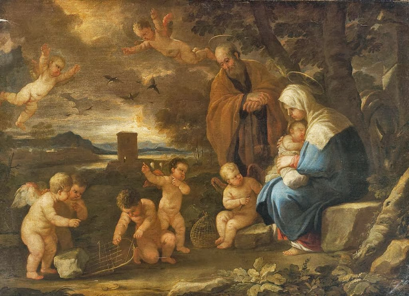 Luca Giordano - The Holy Family with Putti making birdcages in a landscape