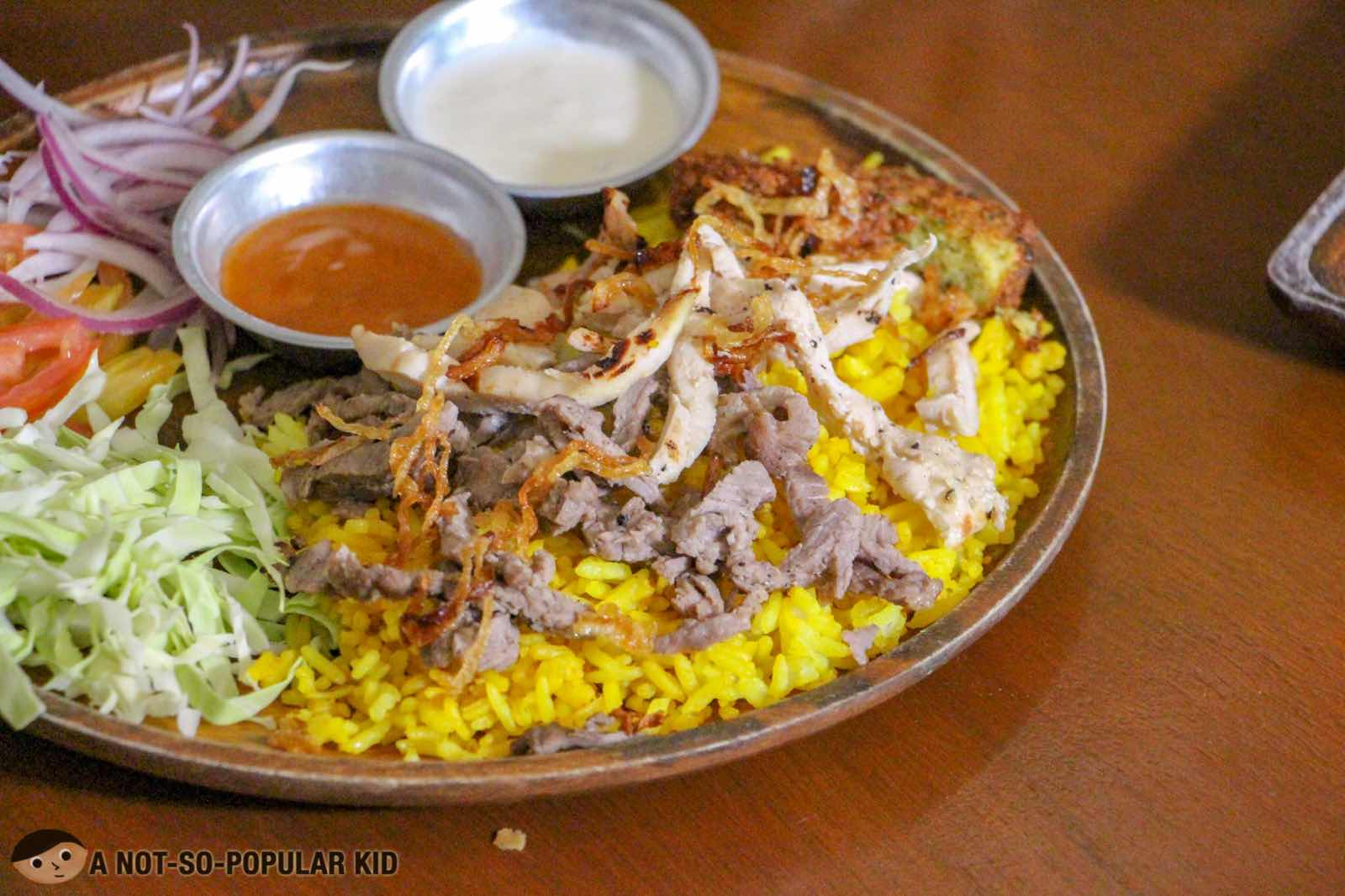 Shawarma Turmeric Rice Plate Duo of Kite Kebab Bar