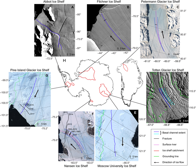 Transverse fractures related to ice shelf channels on Antarctic and Greenland ice shelves. In all images, transverse fractures are shown in black, basal channels are shown in blue, and black arrows indicate general ice-flow direction. Graphic: Dow, et al., 2018 / Science Advances