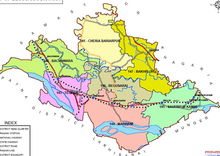 begusarai district bihar assembly elections 2015 constituency map image