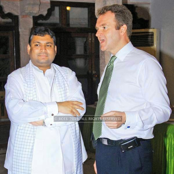 Sundeep Bhutoria (L) with David Lelliott, British deputy high commissioner during an Iftaar party, hosted by David Lelliott, British deputy high commissioner, Chandigarh, at Diggi Palace, in Jaipur.