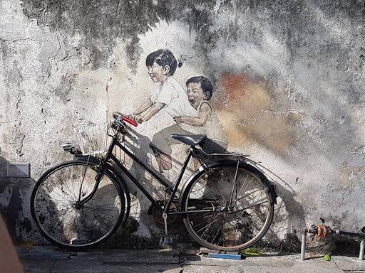 Bicycle street art at Lebuh Armenian in Georgetown Penang