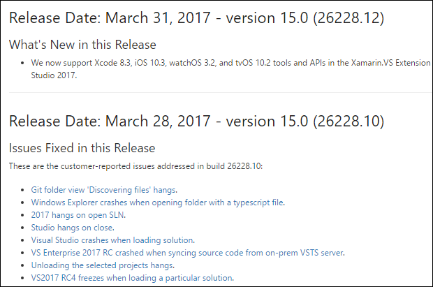 VS2017 - Update Log