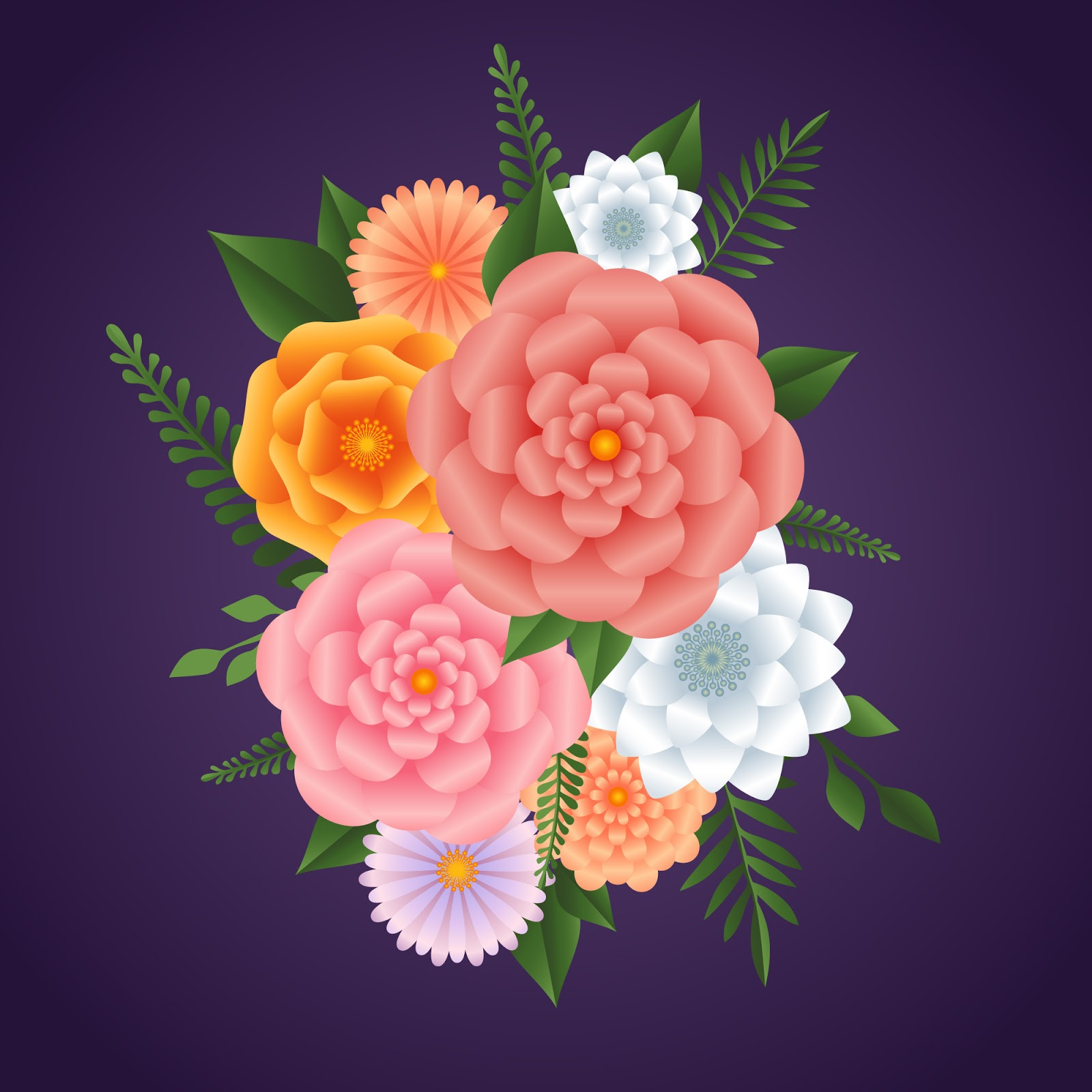 Colourful Gradient Paper Style Flowers Free Download Vector CDR, AI, EPS and PNG Formats