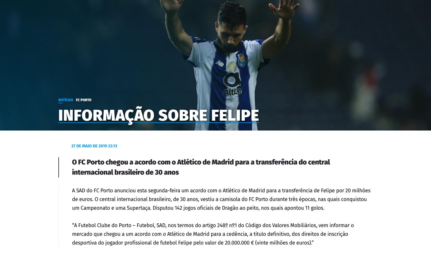 El Atlético ficha a Felipe: firmará para tres temporadas