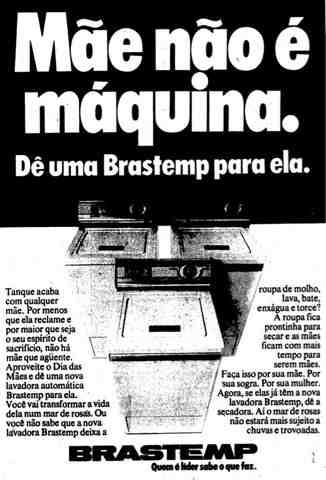 Propaganda da Brastemp para o Dia das Mães em 1978.
