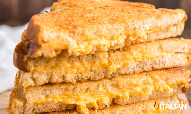 air fryer grilled cheese stacked