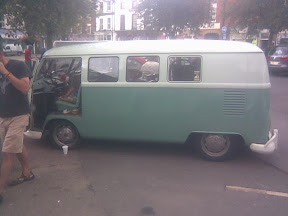 pastel green & white iconic microbus
