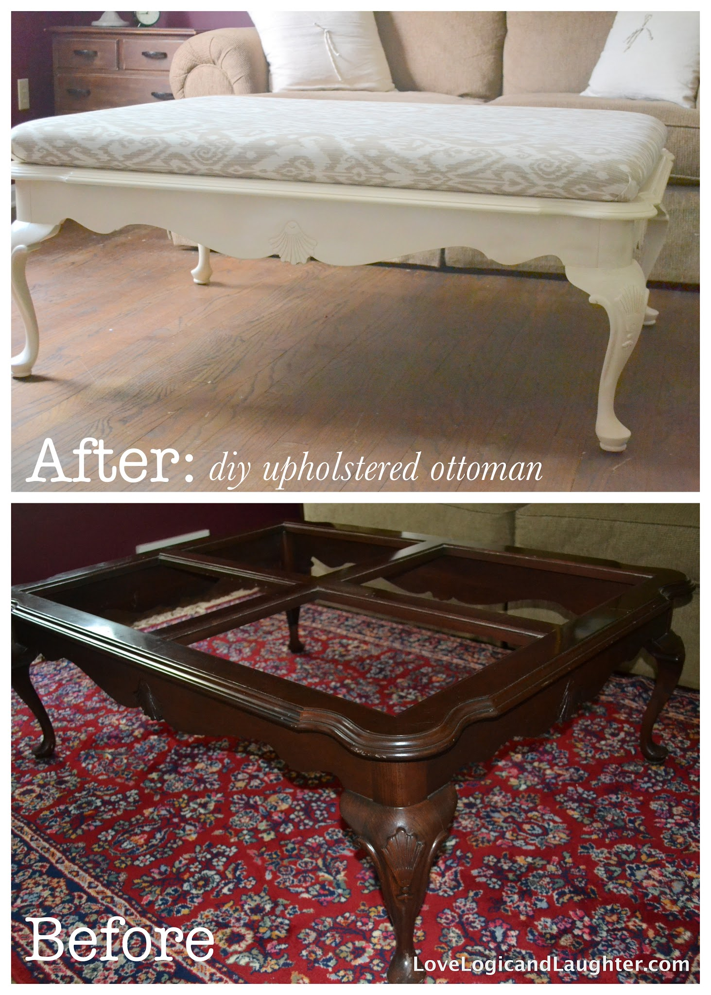 Upholstered Coffee Table Diy Diy Upholstered Ottoman From An Old Coffee Table A Tutorial