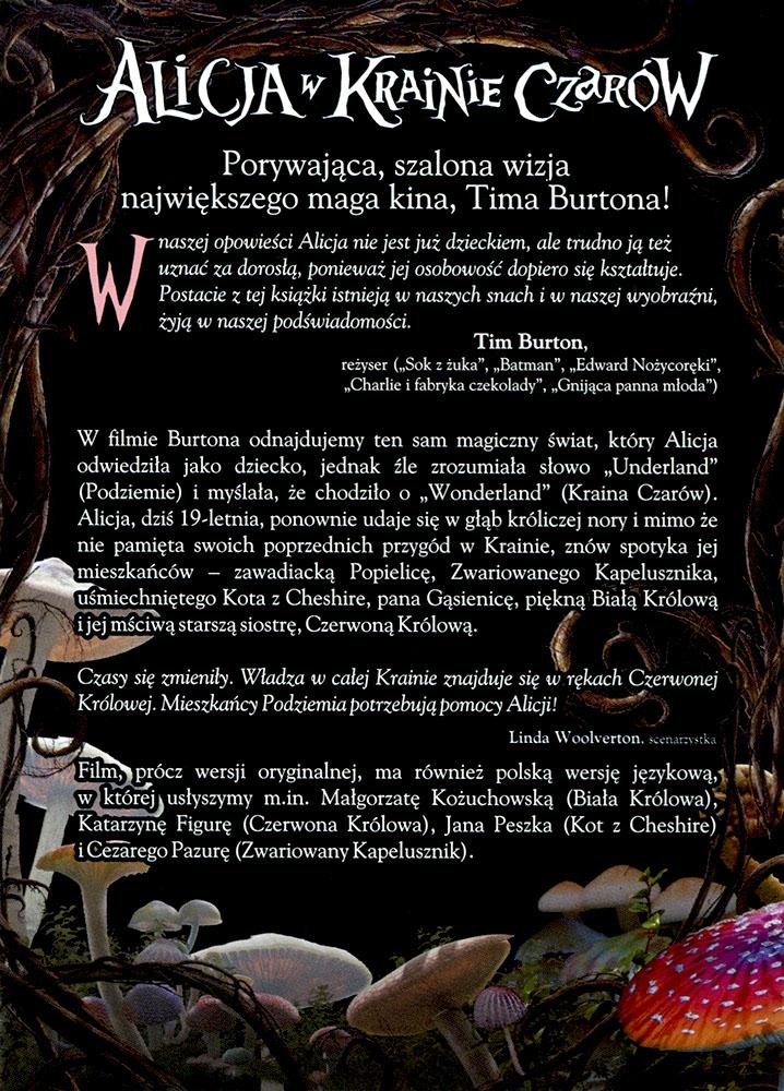 Ulotka filmu 'Alicja W Krainie Czarów (tył)'
