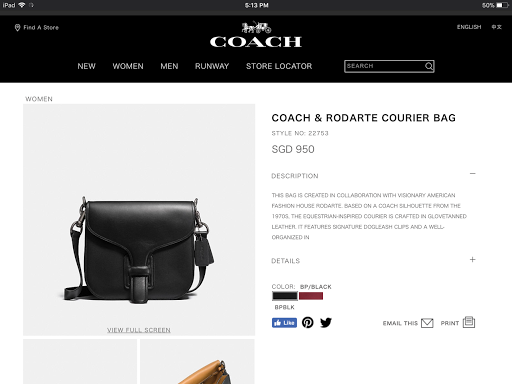 Coach & Rodarte courier bag in black