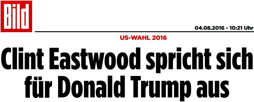 Clint Eastwood spricht sich für Donald Trump aus