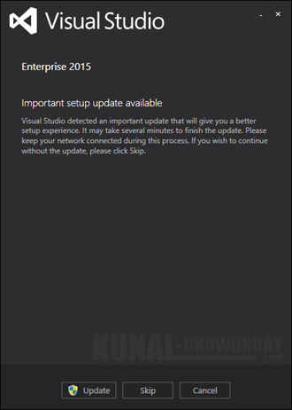 Visual Studio 2015 - Important setup update available (www.kunal-chowdhury.com)