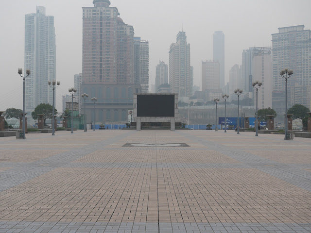A large portion Chaotiamen Square mostly devoid of people