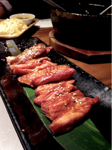 Japanese wagyu beef kiriotoshi from Kintan Japanese BBQ in Holborn.  Kintan is the first yakiniku-style restaurant in London.  Cook your own bite sized pieces of meat or seafood on the grill set in the table and enjoy with other small dishes, rice and noodles on the extensive menu