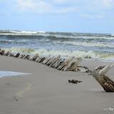 Wrak na plaży na wschód od Łeby