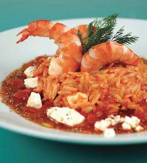 Γαρίδες με κριθαράκι στο φούρνο,Shrimp with pasta in the oven.