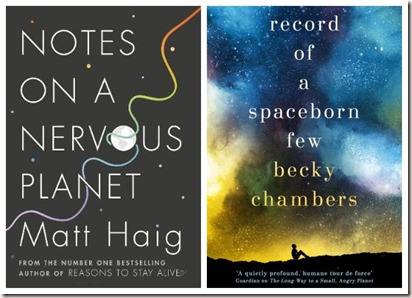 Collage Notes on a Nervous Planet Matt Haig Record of a Spaceborn Few Becky Chambers