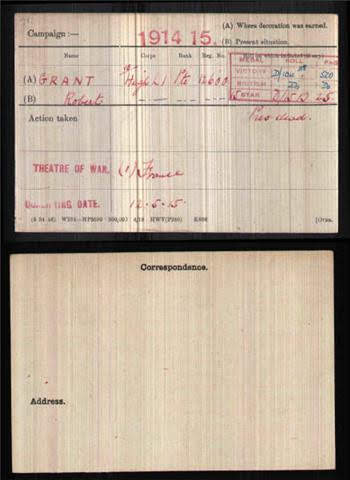 Robert  Grant's Medal Index Card