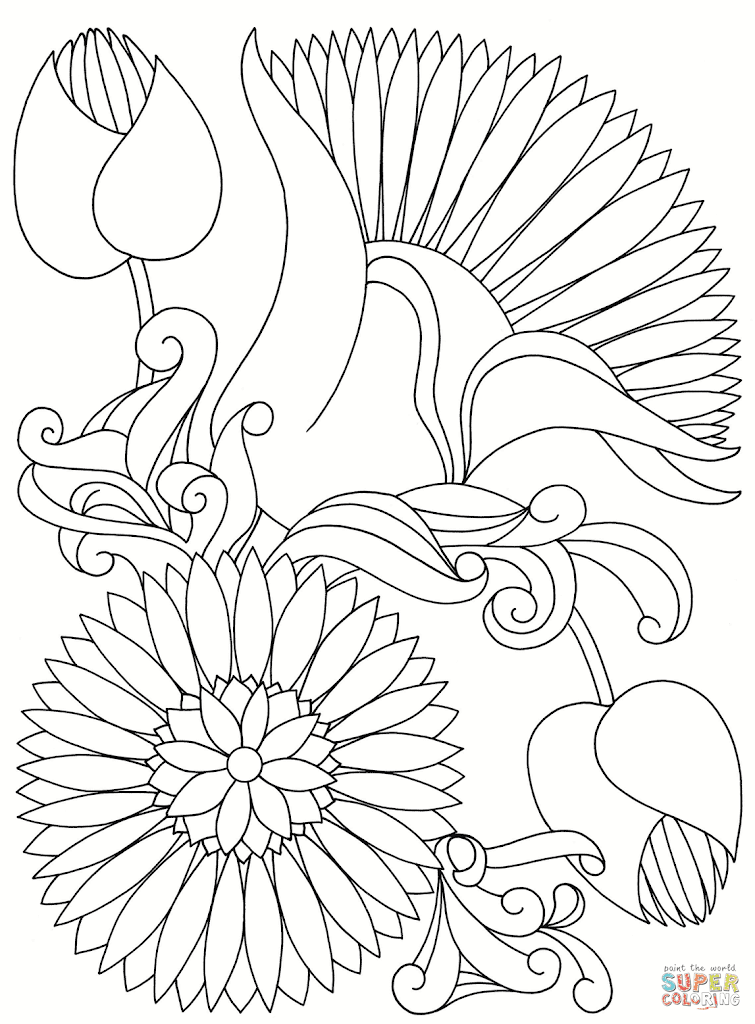 Top Abstract Flower Coloring Pages Images