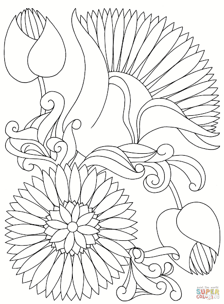 Click The Abstract Flowers Coloring Pages To View Printable Version Or Color  It Online Patible With Ipad And Android Tablets