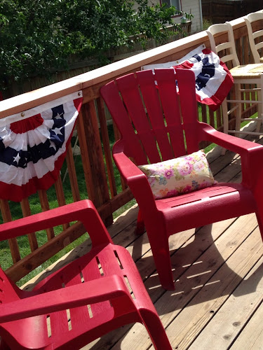 Red Adirondack chairs, Memorial Day party, Gourmet smore party