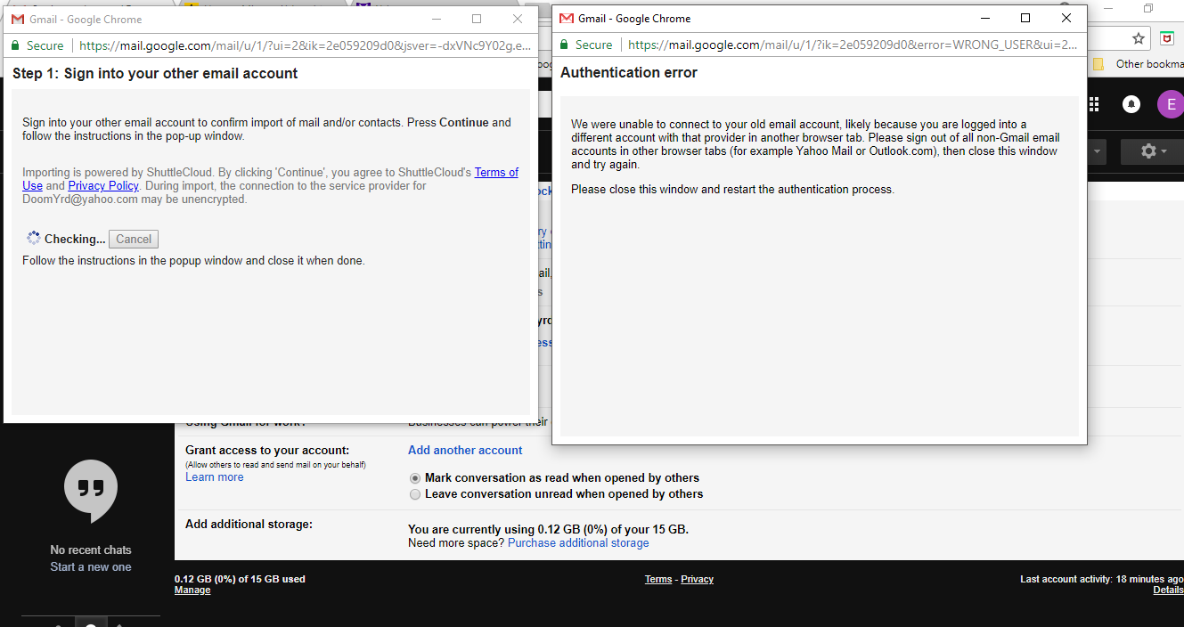 Authentication Error Importing from Yahoo! Mail - Gmail Help