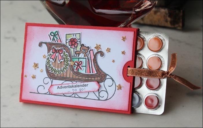 Adventsmarkt Adventskalender to go Verpackung Stampin Up Einhorn Hirsche Schlitten Zweige 01