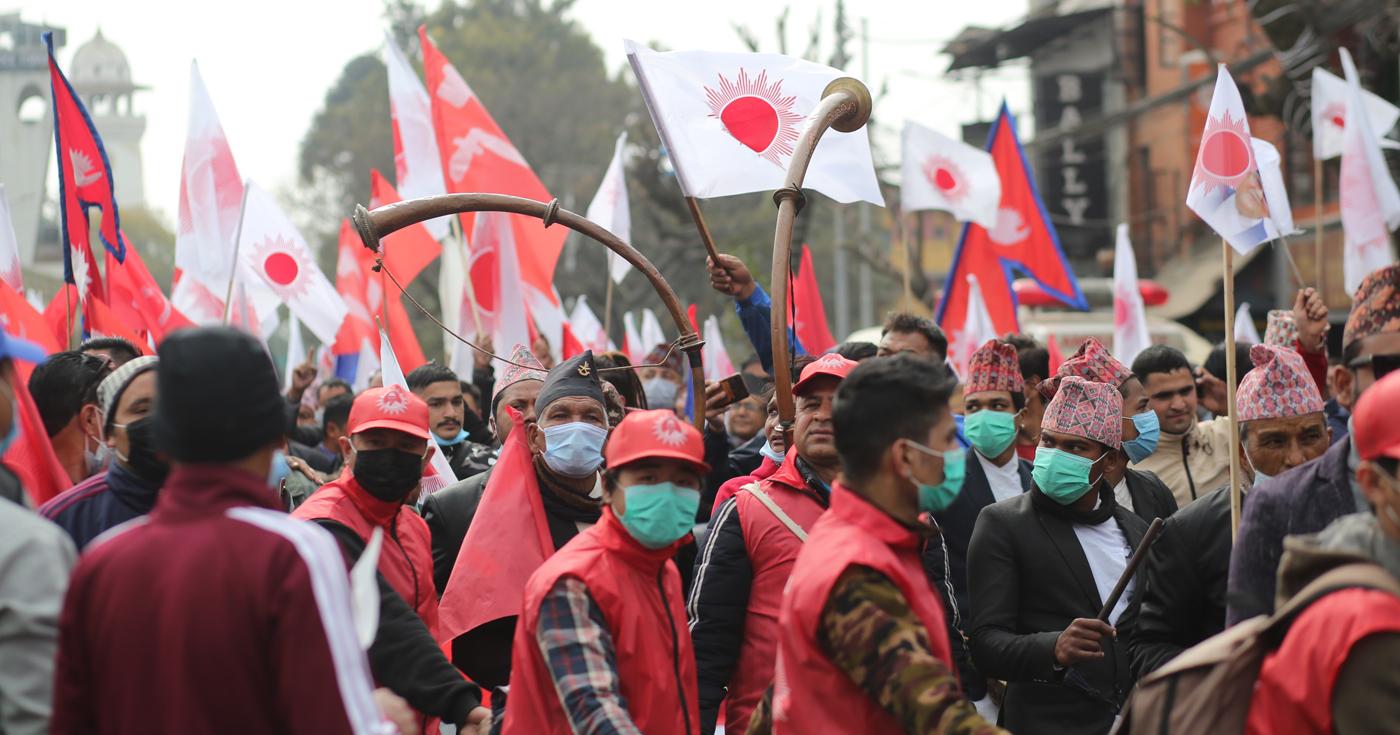 काठमाण्डौमा ओली समूहको र्याली