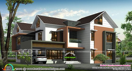 Front side view rendering of a mixed roof home