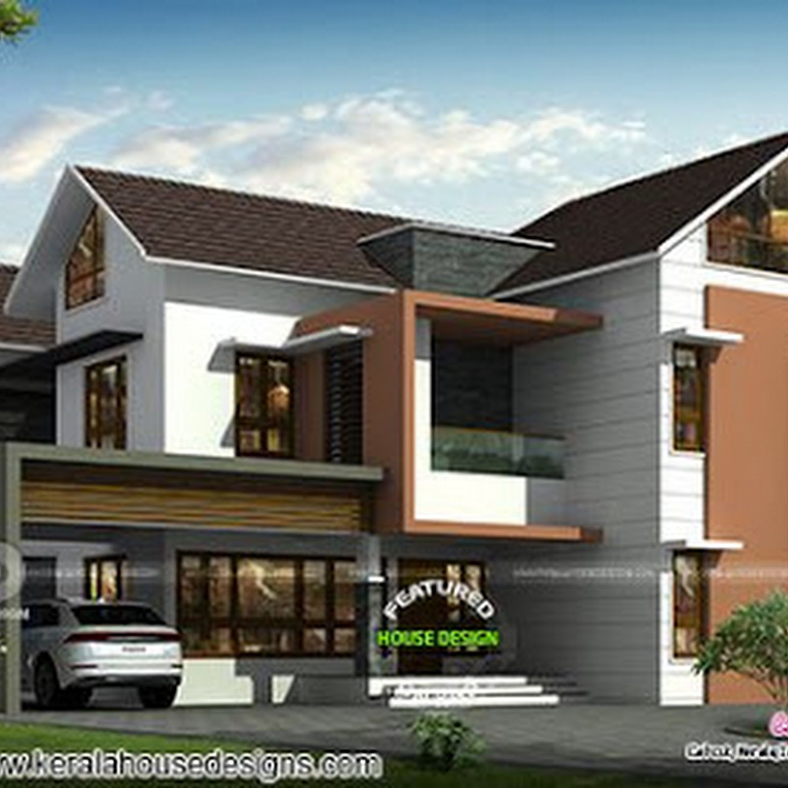 Luxurious 5 bedroom mixed roof house design