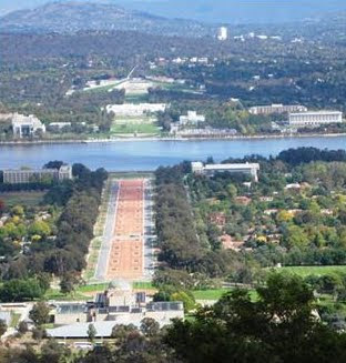 Canberra looking over the War Memorial to Parliament House