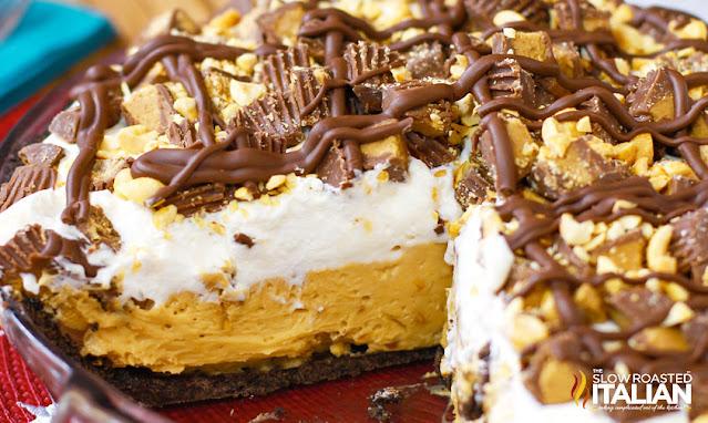 no bake peanut butter pie in a pie plate
