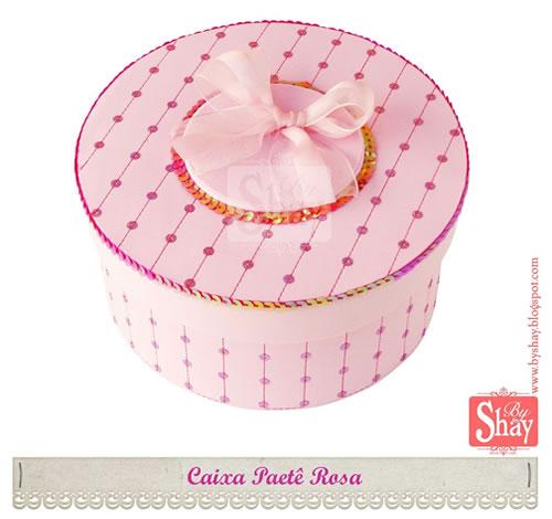 caixa paetê rosa em EVA