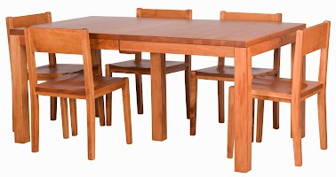 Ashton Dining Table and Delton Dining Chairs in Vermont Maple