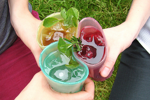 These glasses are actually made of jello...a very green disposable cup.