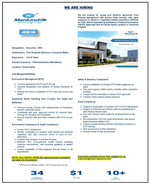 Urgent Openings for EHS @ Mankind Pharma