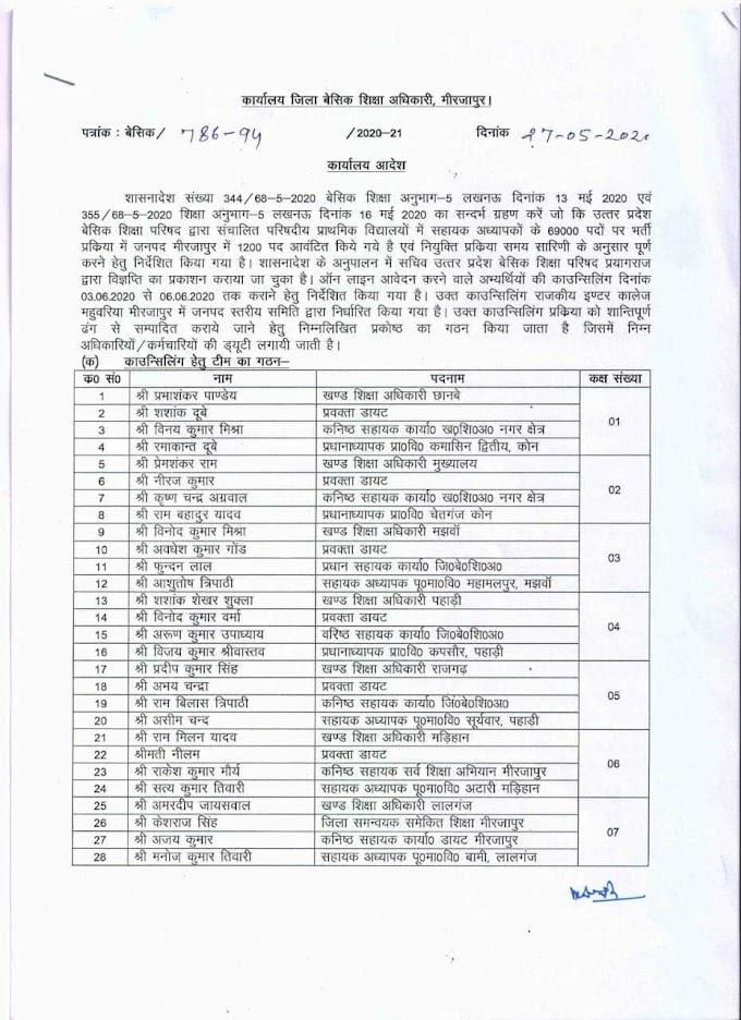 मिर्जापुर:69000 शिक्षक भर्ती के कॉउंसलिंग के संबंध में दिशा निर्देश जारी