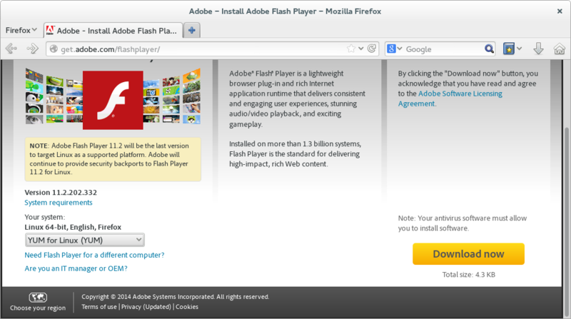 Adobe Flash Player download website