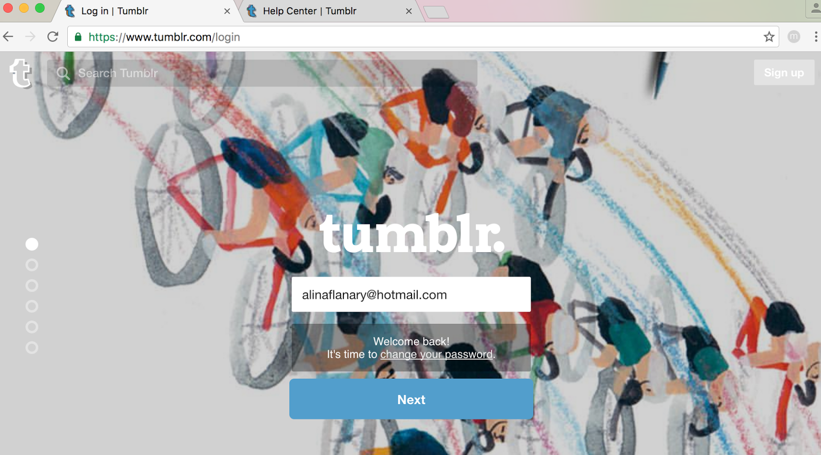 Cannot login to tumblr com ONLY in this browser  - Google