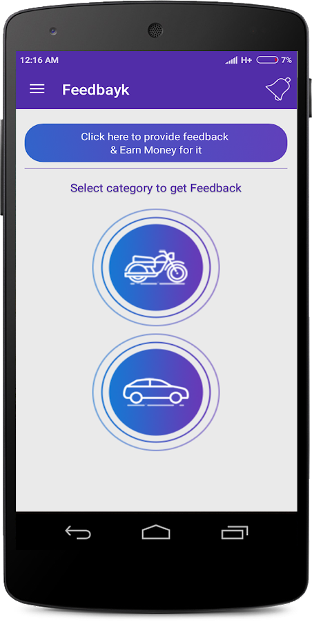 Feedbayk - Car/Bike feedback- screenshot