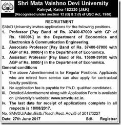 SMVDU Recruitment 2017 www.indgovtjobs.in