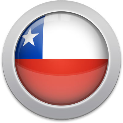 Chilean flag icon with a silver frame
