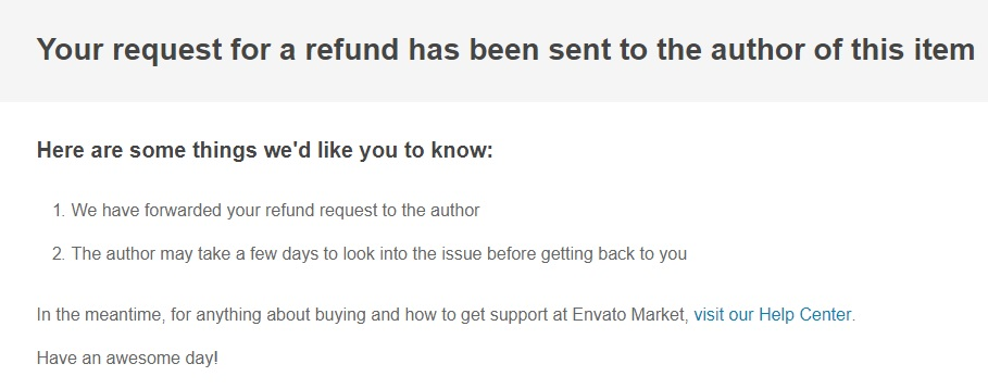 Confirmation we have added a refund