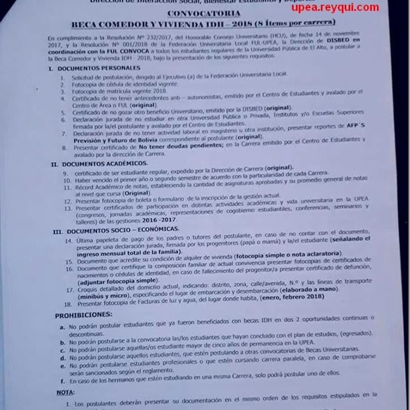 UPEA: Convocatoria para Beca Comedor y Vivienda IDH 2018 | La UPEA ...