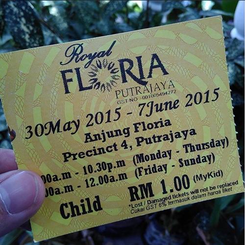 harga tiket kanak kanak royal floria 2015