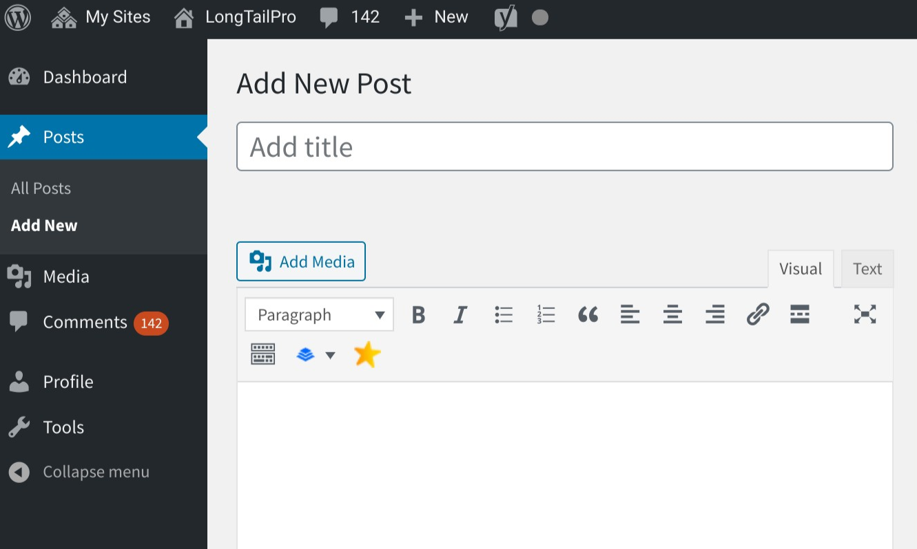 Create blog post WordPress Editor