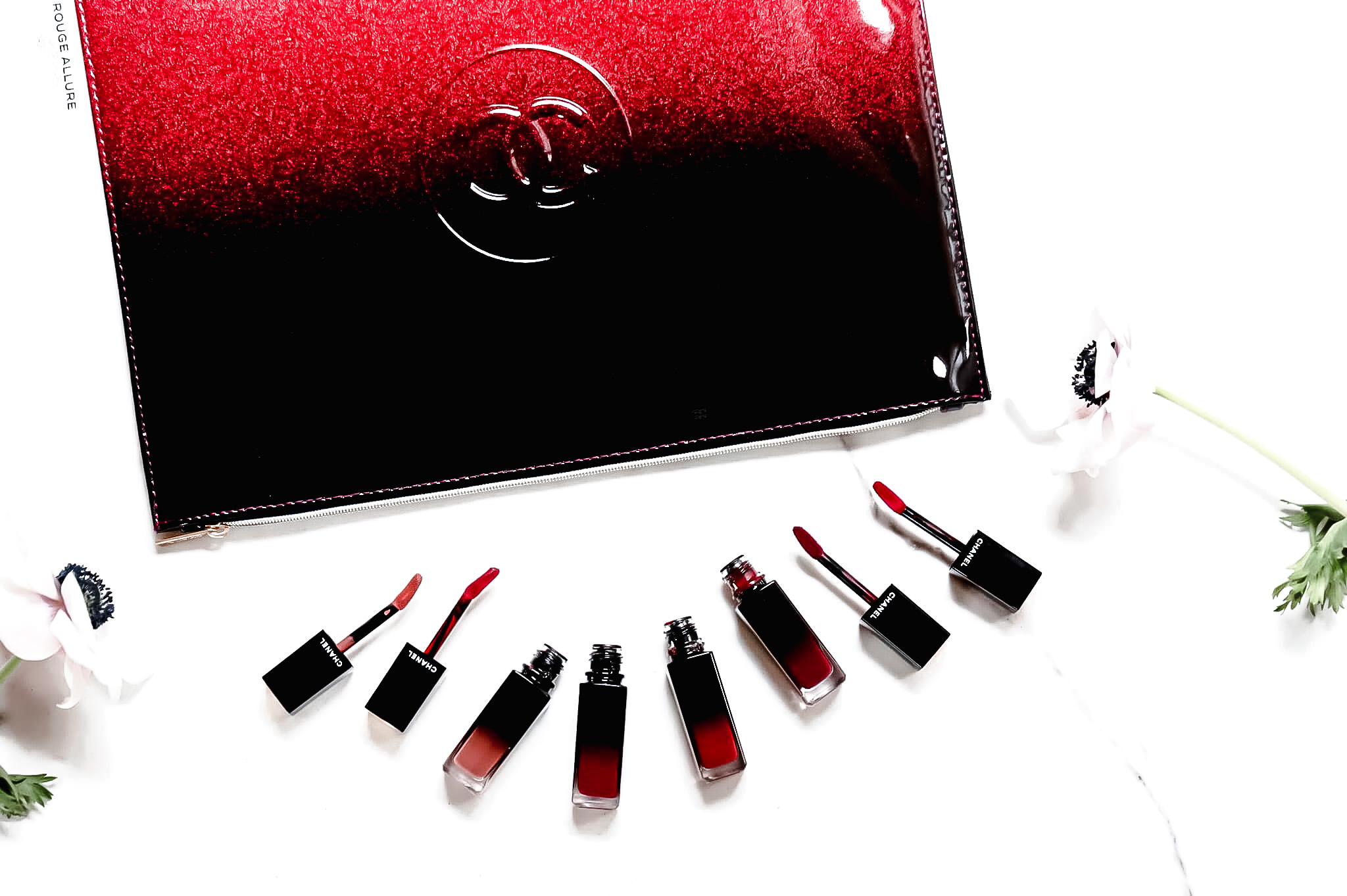Chanel Rouge Allure Laque 62 Still 72 Iconique 79 Eternité 80 Timeless swatch