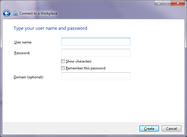 Setup VPN - Enter user name and password