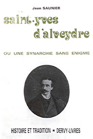 Cover of Jean Saunier's Book Saint Yves D'Alveydre ou Une Synarchie Sans Enigme (1981,in French)